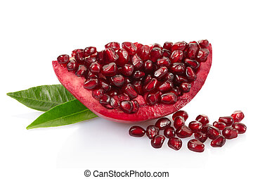 Pomegranate slice with leaves on white - Pomegranate with...