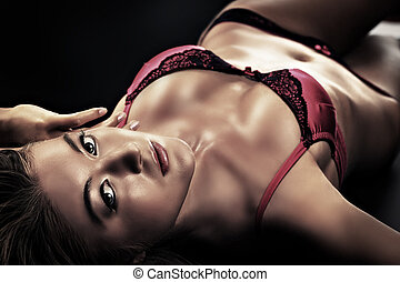 erotic look - Portrait of a sexual woman in lingerie over...
