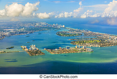 aerial of coastline Miami - aerial oftown and beach of Miami