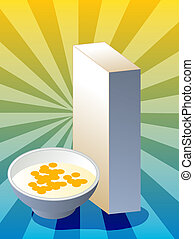 Cereal box - Breakfast cereal with milk in bowl with box