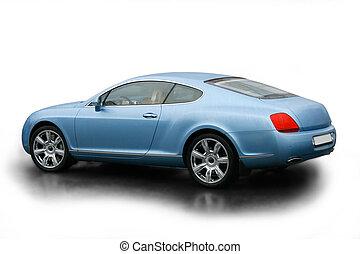 luxury blue car on white background