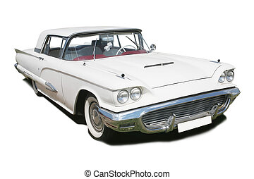 white ancient American car - big white ancient American car...