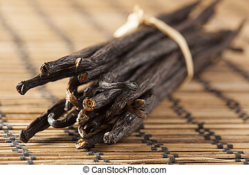 Fresh Brown Organic Vanilla Bean against a background