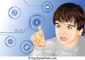 Modern technology kid - A vector illustration of a kid using...