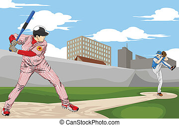 Baseball players - A vector illustration of a people playing...