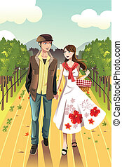 Couple walking in a winery