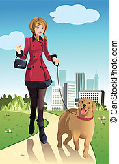 Woman walking dog - A vector illustration of a woman walking...