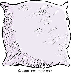 pillow - hand drawn, vector, sketch illustration of pillow