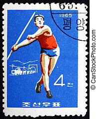 Postage stamp North Korea 1965 Javelin, Olympic sports -...