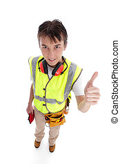 Positive trainee builder laborer thumbs up - A positive teen...