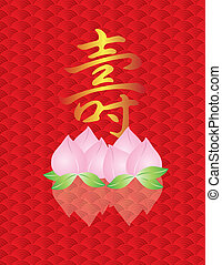 Longevity Shou Peach on Fish Scale Background - Longevity...