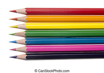 close up of color crayons - Detailed shot of variety of...