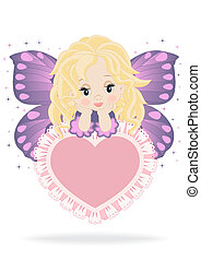 magical fairy sitting on a pink heart isolated on white...