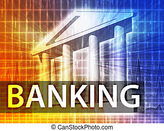 Banking illustration, financial diagram with bank building