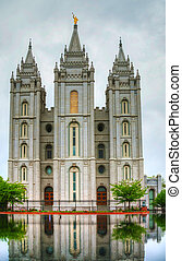 Mormons Temple in Salt Lake City, UT in the evening