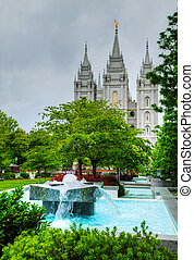 Fountain in front of the Mormons' Temple in Salt Lake City,...