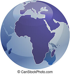 Map of Africa on globe illustration - Map of the Africa, on...