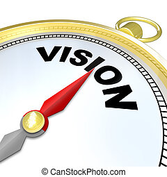 Vision Word on Gold Compass Plan Direction Strategy - The...
