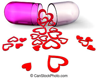 3d love pill with red hearts for Valentine's Day - 3d lilac...