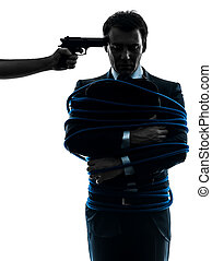 captive hostage business man silhouette - captive hostage...