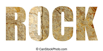 The word 'rock' in rock stone letters on white