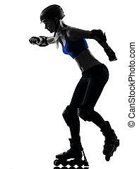 mujer, rodillo, patines, silueta