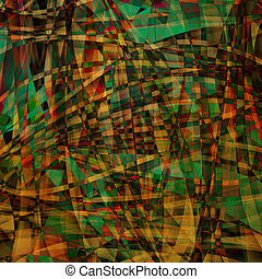 Abstract chaotic pattern with colorful translucent curved...