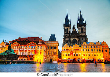 Church of Our Lady before Tyn in Prague at sunrise - Church...
