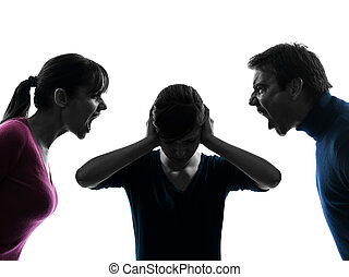 family father mother daughter dispute screaming silhouette -...