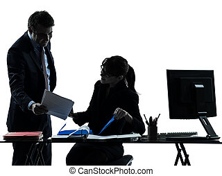 business woman man couple silhouette - one caucasian...