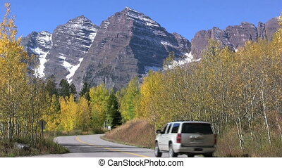 Road to Maroon Bells - tourists on the road to maroon bells...