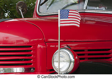 Classic American truck and US flag