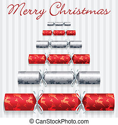 Merry Christmas - Red Merry Christmas cracker card in vector...