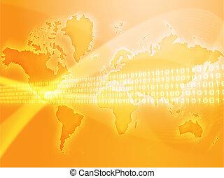 Global data transfer - Digital data transfer, over world map...