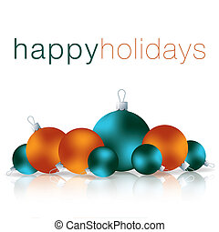 Merry Christmas - Happy Holidays bauble card in vector...