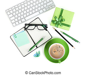 Coffee cup, office supplies and gift box Isolated on white...