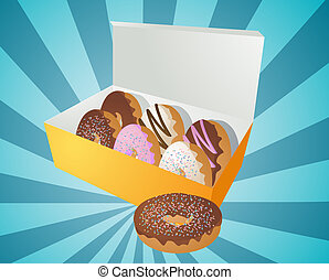 Box of donuts illustration - Box of assorted donuts...