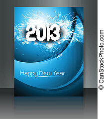 2013 new year celebration blue wave colorful brochure card...