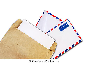 brown document and air mail envelope isolated
