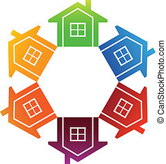 Housing Market - Group of houses aligned in circle