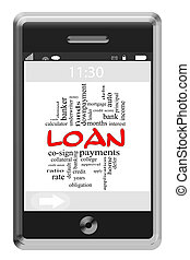 Loan Word Cloud Concept on Touchscreen Phone - Loan Word...