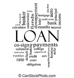 Loan Word Cloud Concept in Black and White - Loan Word Cloud...