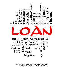 Loan Word Cloud Concept in Red Caps - Loan Word Cloud...