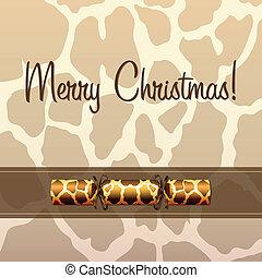 Merry Christmas - Giraffe cracker Christmas card in vector...