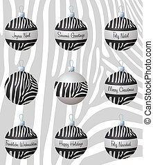 Merry Christmas - Zebra inspired Christmas baubles in vector...