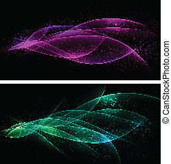 Dark glow banners with color waves - Vector abstract dark...