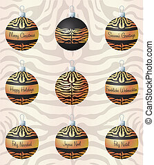 Merry Christmas - Tiger inspired Christmas baubles in vector...