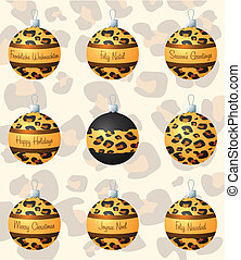 Merry Christmas - Leopard inspired Christmas baubles in...