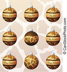 Merry Christmas - Giraffe inspired Christmas baubles in...