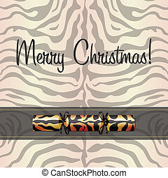 Merry Christmas - Tiger Christmas cracker card in vector...